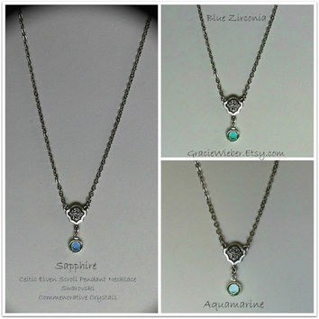 Celtic Crystal Necklace Elven LOTR Scroll Pendant, Elvish, Aquamarine Swarovski Bridesmaid Gift, Bohemian Bridal Jewelry