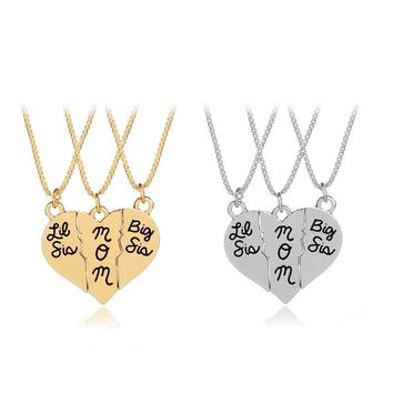 Fashion Sister Mom Three Stitching Love Pendant Necklace Set  Gift jewelry three necklace love letter necklace
