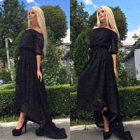 Sexy Off Shoulder Lace Long Irregular Dress
