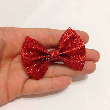 Mini Red Glitter Canvas Hair Bow on Alligator Clip - 2.5 Inches Wide - AFFORDABOW Line - Affordable and High Quality Hair Bows