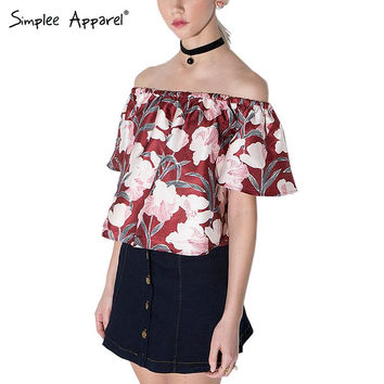Simplee Apparel ELegant red floral print girls blouse shirt Summer style sexy off shoulder women blouse 2016 crop tops blusas