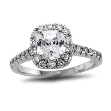 7/8 CT. T.W. Certified Cushion-Cut Diamond Frame Engagement Ring in Platinum (H/SI1-SI2)
