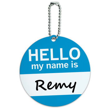 Remy Hello My Name Is Round ID Card Luggage Tag