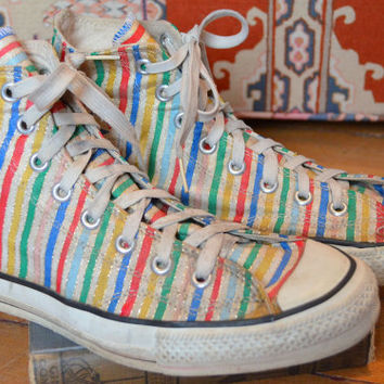 Vintage 80s Candy Striped Chuck Taylor Allstar Tennis Shoes size 8