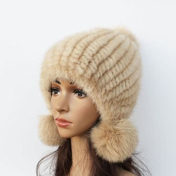 DCCKWQA 2016 New mink hat Ladies fashion Fox fur ball fur hat Mink knit hats Casual mink hat Female Headgear