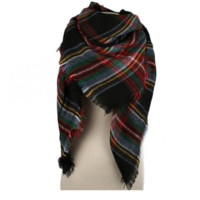 Plaid Blanket Scarf-black/red