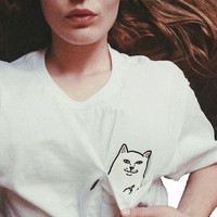Women T Shirt 2017 Summer Style Cat Pocket T-shirt White Punk Harajuku O-neck Short Sleeve Cotton Couple Crop Top Tee Plus Size = 1956851204