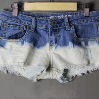 Sexy gradient flash stretch denim shorts hot pants