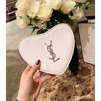 YSL High Quality New Popular Women Leather Tassel Shoulder Bag Handbag Chic Heart Crossbody Satchel White