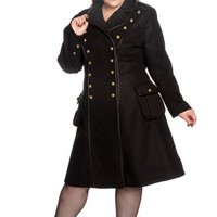 "Hell Bunny Plus Gothic Black Steampunk Military Corset "" Imma"" Coat"