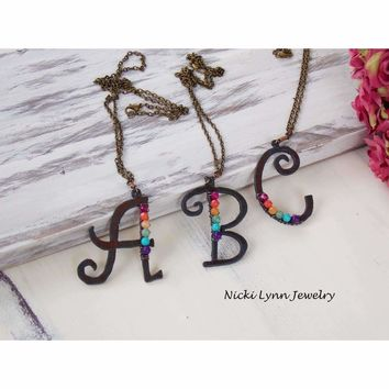 Rustic Iron Monogram Pendant Necklace