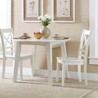 Wooden Round Dining Table with 2 Drop-leaf, White - BM181491