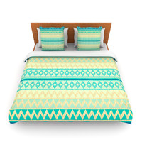 "Nika Martinez ""Glitter Chevron in Teal"" Blue Pattern Lightweight Duvet Cover"