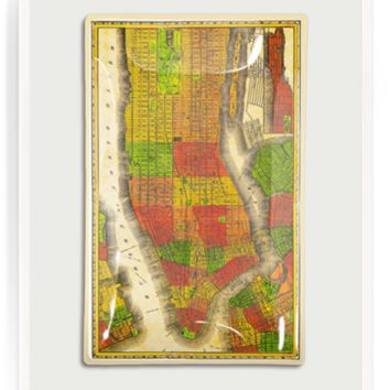 Vintage New York City Neighborhood Map Decoupage Glass Tray