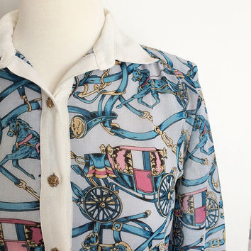 Vintage 1980's Horse + French Carriage Dress ~ Novelty Print ~ Button Down ~ 80s Vintage
