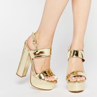 Public Desire Shakira Gold Platform Heeled Sandals at asos.com