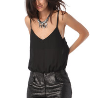 BLACK CHIFFON TOP ROMPER WITH SEQUIN SHORTS
