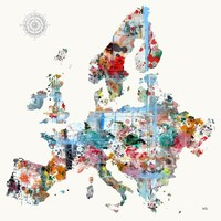 """Europe Map"" - Art Print by Brian Buckley"