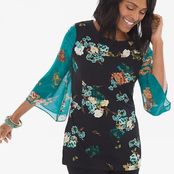 Chico's Floral Woven-Sleeve Top