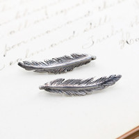 Sterling Silver Feather Climber Earrings, Handmade Whimsical Boho Bohemian Bridal Bridesmaid Bird Nature Lover Friendship Jewelry Gift