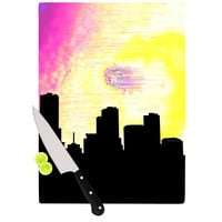 "Infinite Spray Art ""Skylined"" Pink Yellow Cutting Board"