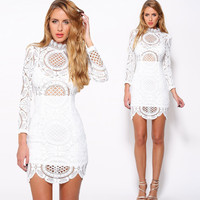 White Stand Collar Back Zipper Crochet Lace Bodycon Dress With Scalloped Hem