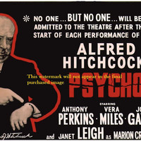 "Print of old Movie Film Poster - Alfred Hitchcock:  ""PSYCHO""."