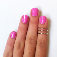 3 Above the Knuckle Rings - thin chrome silver knuckle rings - set of 3 stackable midi rings