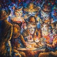 "CAT POKER -  Oil Painting On Canvas By Leonid Afremov SIZE: 36""x48"""