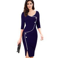 Autumn Womens Casual Pinup Elegant Wear To Work Business Vintage Button Bodycon Sheath Pencil Dresses EB329