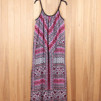 Chiffon Strap Print Dress B005485
