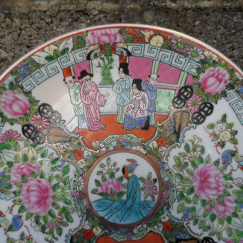 Vintage Chinese 20th century porcelain plate - Canton rose porcelain enamels - Qianlong mark - vintage ceramics Asian Chinese porcelain
