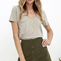 White Crow Austin Olive Green Corduroy Mini Skirt