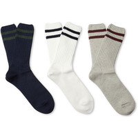 Beams Plus - Three-Pack Knitted Cotton-Blend Socks | MR PORTER