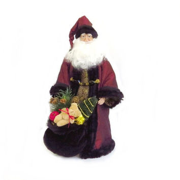 Old World Santa Doll Figure Handmade OOAK Sculpted Face & Hands 20 Inches Burgandy Cloak