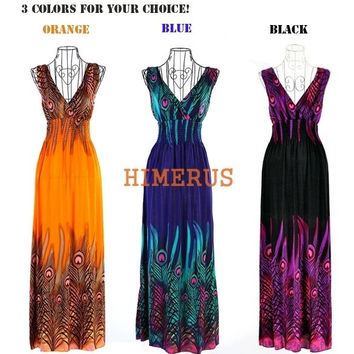 Himerus Womens Casual New Women's Bohemian Peacock Tail Hawaiian V-neck Long Beach Dress Sundress Summer 11100