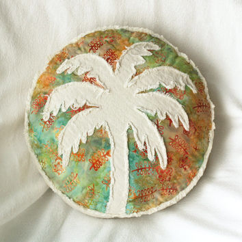 Palm tree boho pillow, tropical aqua green orange yellow flower leaf batik and distressed natural denim round pillow
