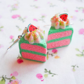 Watermelon Cake Earrings, Cake Earrings, Cake Slice Earrings, Food Earrings, Dessert Earrings, Watermelon Earrings, Miniature Food