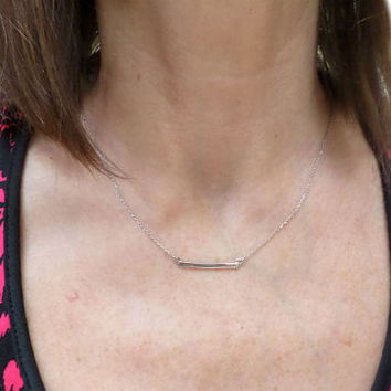 Silver Bar Necklace - Dainty Thin Silver Bar Pendant Layering Necklace - Silver Bar Horizontal Necklace