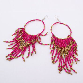 Bohemian Fringed Long Section Of Big Beads Pendant Drop Earrings