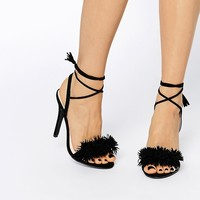 Daisy Street Black Pom Ghillie Lace Up Heeled Sandals