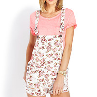 Distressed Floral Overall Shorts
