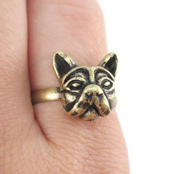 French Bulldog Dog Face Shaped Adjustable Ring in Brass