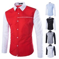 Long Sleeve Patchwork Men's Fashion Casual Men Tops Shirt [6541444995]