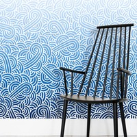 'Ombre blue and white swirls doodles' Wallpaper by Savousepate on miPic