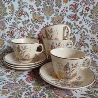 Vintage Woods Ware 1970s Tea Set 8pc Floral Pale Yellow Selbourne Jasmine 70s Butterfly Cups and Plates Made in England