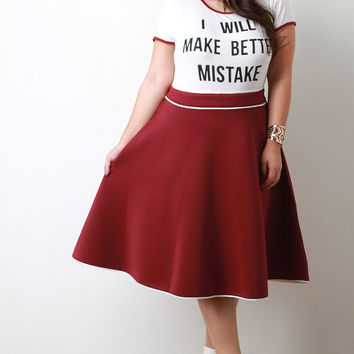 Contrast Piping Scuba Knit A-Line Skirt