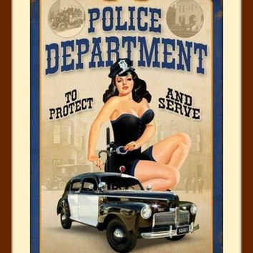 Police Officer Gifts, Gifts for Police Officers, American Girl, Pin Up Art, Pin Up Girl, Metal Wall Decor, Sexy Art, Police Wife, Home Decor