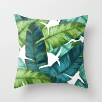 Tropical Banana Leaves Unique Pattern Throw Pillow by oursunnycdays