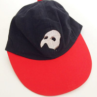 90s Phantom of the Opera Baseball Cap- Hat, Red and Black Musical Hipster, Vintage Health Goth, Mens womens unisex